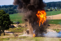 The explosion of residential buildings Stock Images