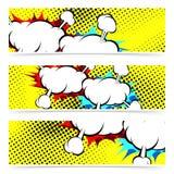 Explosion retro pop art cloud collision concept header collectio Royalty Free Stock Photo