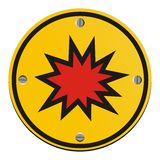 Explosion risk - round yellow sign Stock Image