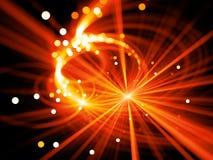 Explosion rougeoyante ardemment d'étoile avec des particules dans l'espace, profondeur de f illustration de vecteur