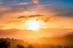 Explosion in the sky Over Crieff Perthshire while bathed in mist Stock Photo