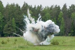 Explosion with smoke Stock Photography