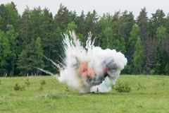 Explosion with smoke Stock Photos