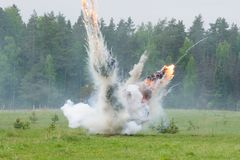 Explosion with smoke Stock Photo
