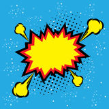 Explosion steam bubble pop-art vector - funny funky banner comic Stock Image
