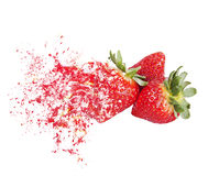 Explosion strawberries Royalty Free Stock Image