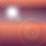 Explosion of the sun in the dark sky. Apocalypse Revelation background. Royalty Free Stock Images