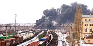 Explosion sur la gare Photos stock