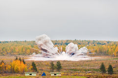 Explosion of a thermite bomb of Buratino launcher Royalty Free Stock Photography