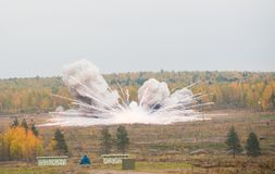 Explosion of a thermite bomb Stock Images