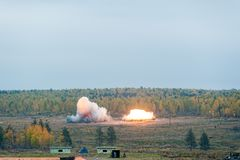 Explosion of thermite bomb from Solncepek launcher. Nizhniy Tagil, Russia - September 25. 2013: Display of fighting opportunities of military equipment of land Royalty Free Stock Photos
