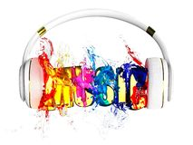 Explosion of transparency color liquid from the headphones. blasted word music. each color is assigned path. the object retained i Royalty Free Stock Photo