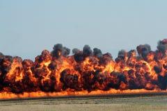 Explosion und schwarzer Rauch Stockbilder