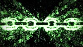 Explosion verte de binaire de blockchain illustration stock
