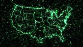 Explosion verte de données binaires de la carte des Etats-Unis illustration libre de droits
