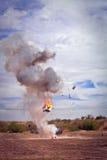 Explosion vid filmspecialeffektpyrotechnics Royaltyfri Fotografi