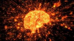 Explosion von binären Daten um das orange Gehirn veranschaulicht als digitaler Schaltkreis vektor abbildung