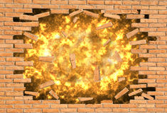 Explosion of a wall Stock Photo