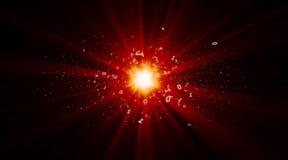 Explosionen av binära stjärnor i cyberspace arkivbild