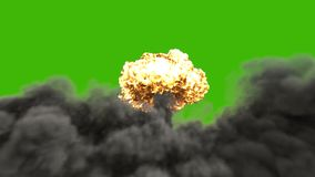 Explosionen av ett kärn- bombarderar Realistisk animering 3D av atombombexplosionen med det brand-, rök- och champinjonmolnet in