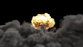 Explosionen av ett kärn- bombarderar Realistisk animering för 3D VFX av atombombexplosionen med det brand-, rök- och champinjonmo