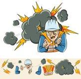 Explosionen i produktionen royaltyfri illustrationer