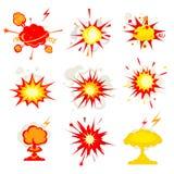 Explosionen tryckvåg eller bombarderar smällbrand vektor illustrationer