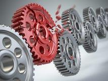 Explosionkugghjul i perpetuum mobile Begrepp för svagast sammanlänkning royaltyfri illustrationer
