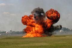 explosionlandningsbana royaltyfria bilder