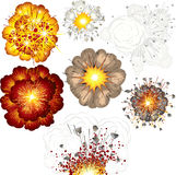 Explosions. Illustration of Different explosions set stock illustration