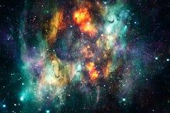 Explosions abstraites artistiques de supernova à un arrière-plan rougeoyant multicolore de galaxie de nébuleuse illustration de vecteur