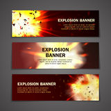 Explosions banners set. For web and mobile devices Stock Photo