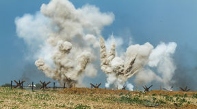 Explosions on the battlefield. Explosions in the trenches on the battlefield Royalty Free Stock Images