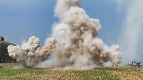 Explosions at the bunker. On the battlefield royalty free stock image