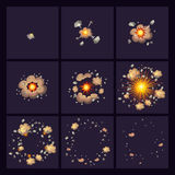 Explosions Comic Style Icons. Set of explosions icons with orange rays and smoke on dark background  comic style  vector illustration Royalty Free Stock Photo