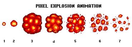 Explosions d'art de pixel Icônes de jeu réglées Effets comiques de flamme de boom pour l'émotion vecteur à 8 bits L'éclat de coup Images stock