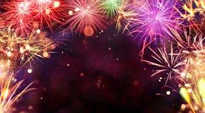 Explosions de feux d'artifice sur le fond noir Photographie stock libre de droits