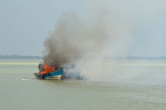 Explosions fishing boat Royalty Free Stock Photography