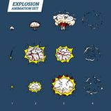 Explosions icons set on white background. Cartoon comic boom effects for emotion. Vector style. Bang burst explode flash. Bubble dynamite with smoke Animation Royalty Free Stock Photos