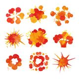 Explosions set, fire burst effect watercolor vector Illustrations Stock Images