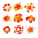 Explosions set, fire burst effect watercolor vector Illustrations. On a white background Stock Image