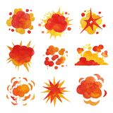 Explosions set, fire explosion effect watercolor vector Illustrations. On a white background Royalty Free Stock Photography