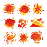 Explosions set, fire explosion effect watercolor vector Illustrations. On a white background Stock Images