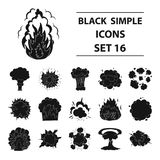 Explosions set icons in black style. Big collection of explosions vector symbol stock illustration Royalty Free Stock Photography