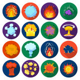Explosions set icons in flat style. Big collection of explosions vector symbol stock illustration. Explosions set icons in flat design. Big collection of Royalty Free Stock Images
