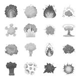 Explosions set icons in monochrome style. Big collection of explosions vector symbol stock illustration Stock Image