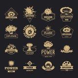 Explosionsenergie-Logoikonen stellten, einfache Art ein stock abbildung