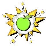 Explosionstextblase Richtige Nahrung, grüner Apfel Vektor lokalisierter Gegenstand auf weißem Hintergrund lizenzfreie abbildung