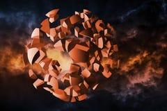 Explosioon moln av sfäriska fragment Arkivbilder