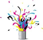 Explosiv CMYK-målarfärg Royaltyfri Foto